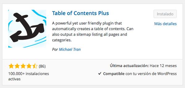 Plugin Table of Contents Plus instalado en Wordpress