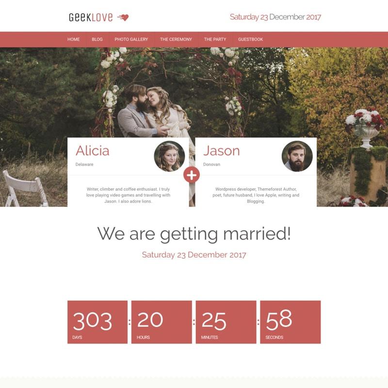 Geeklove plantilla Wordpress para bodas