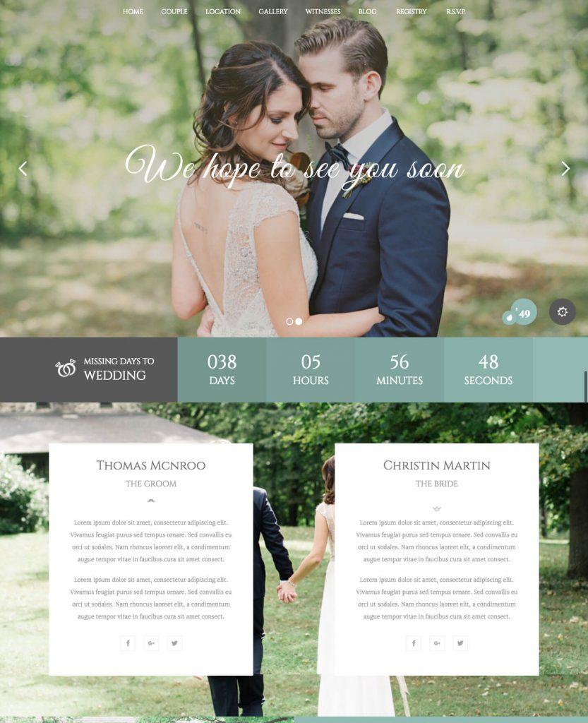 Wedding Industry, plantilla Wordpress para bodas