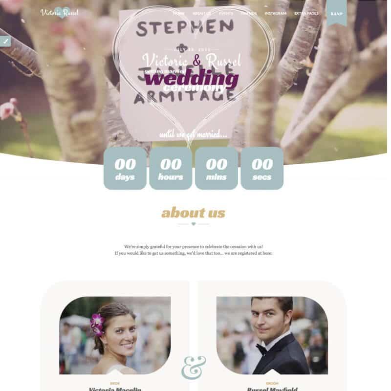 Wedding Fuchsia plantilla Wordpress