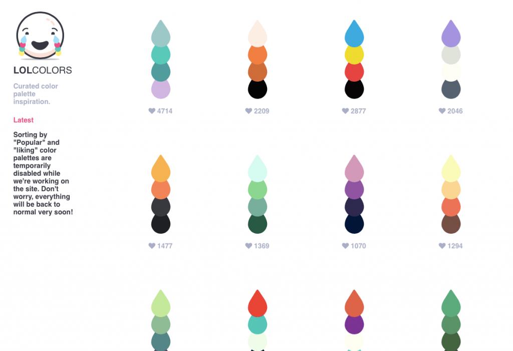 lolcolors paletas de color predefinidas