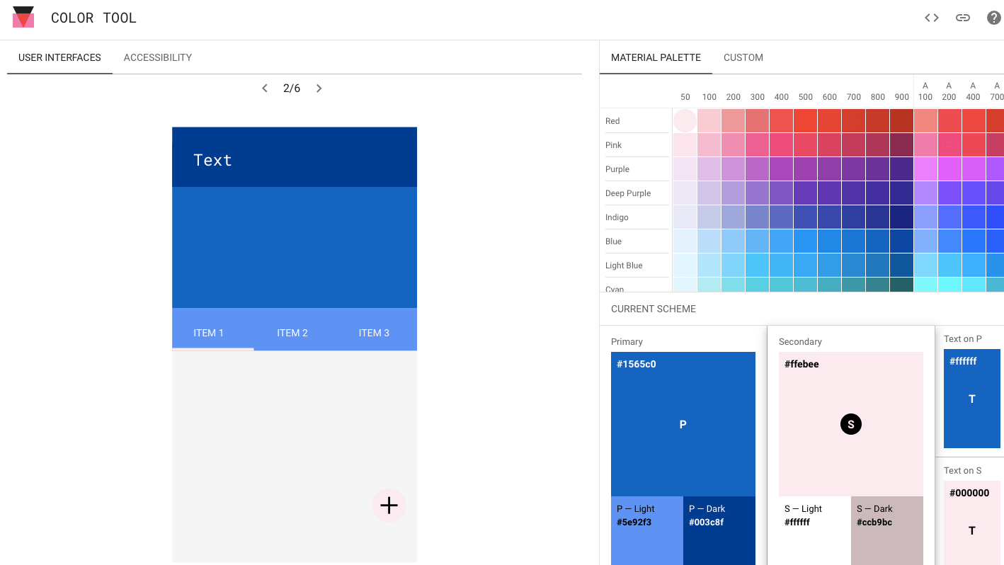 Color Tool creación de paletas de colores web de Google