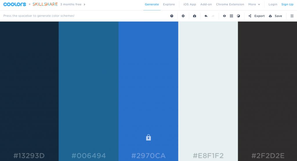 coolors generador de paletas de color para web