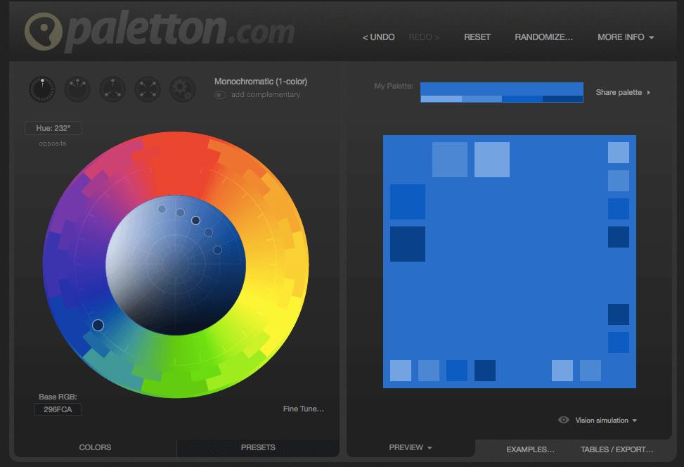 paletton diseño de paletas de color