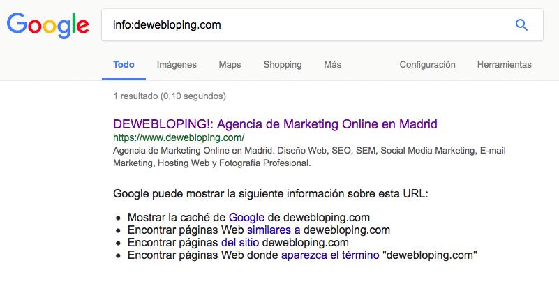 Información en Google de DEWEBLOPING! dewebloping.com