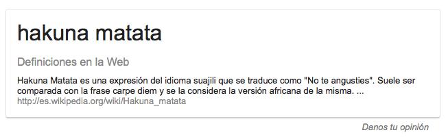 Definición término Hakuna Matata en Google