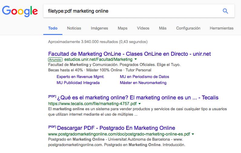 Resultados de PDFs de Marketing Online