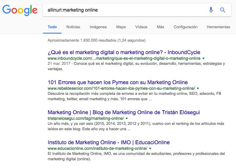 URLs que contienen Marketing Online