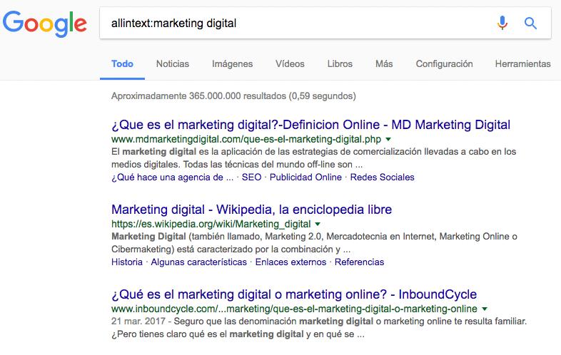 Páginas web con Marketing Digital en su texto