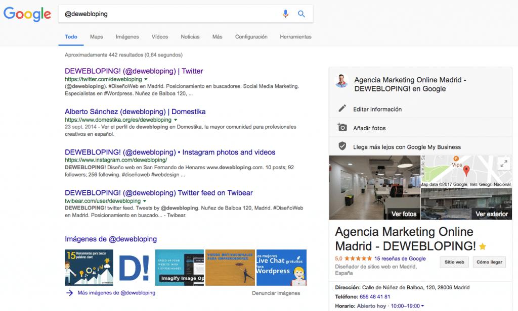 Búsqueda @dewebloping en Redes Sociales a través de Google
