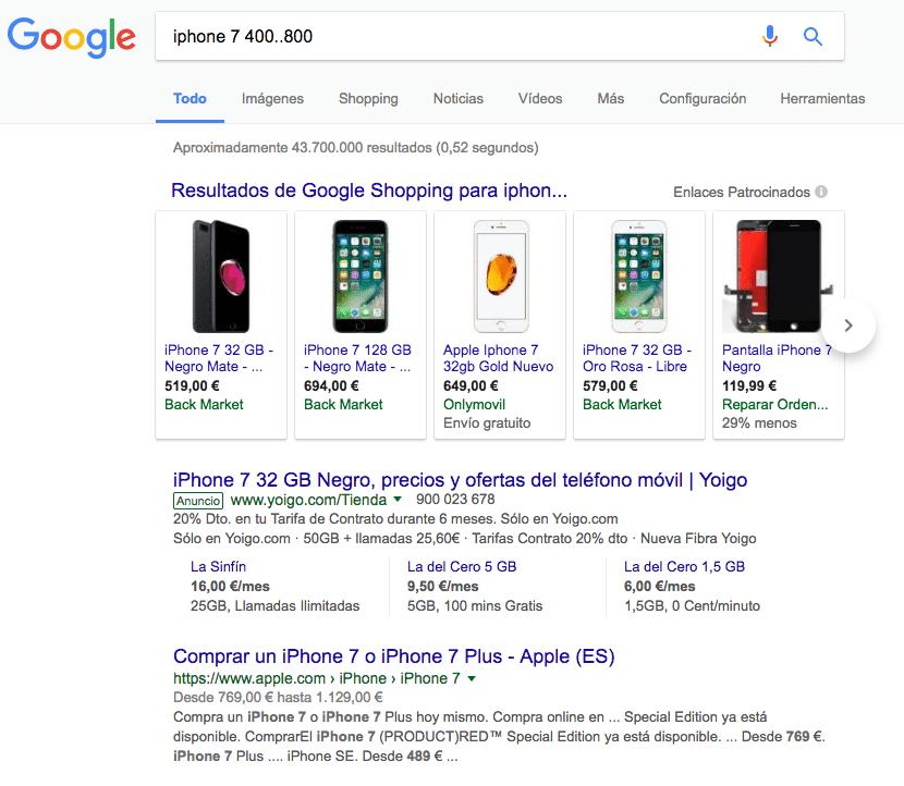 Resultados de Google para rango de precios