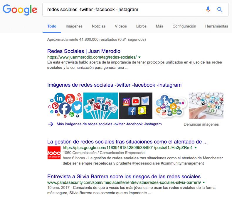 Búsqueda con términos eliminados de la búsqueda de Google