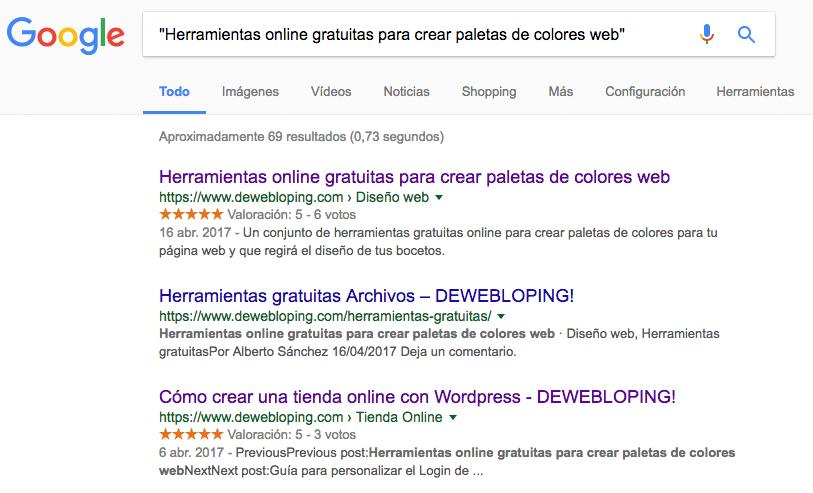 Resultados de búsqueda con términos exactos