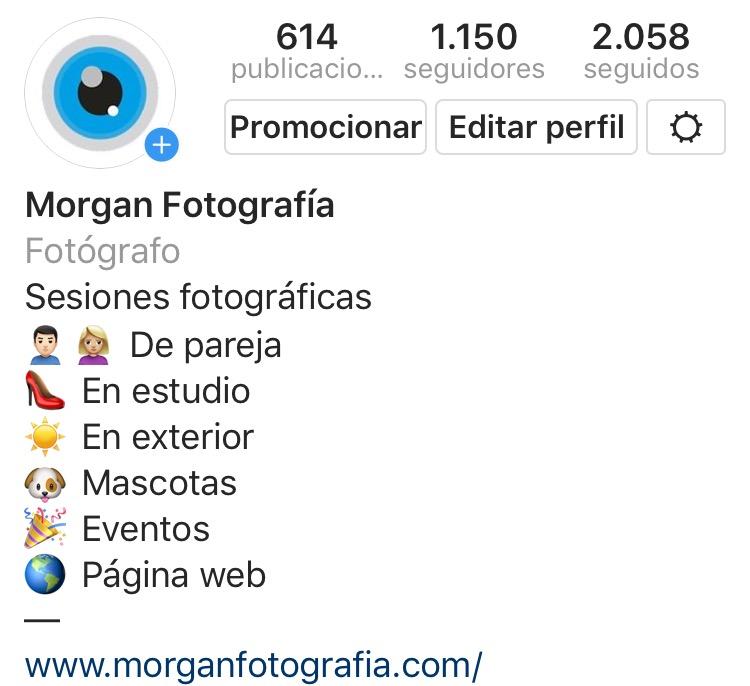 Perfil de Instagram de Morgan Fotografia