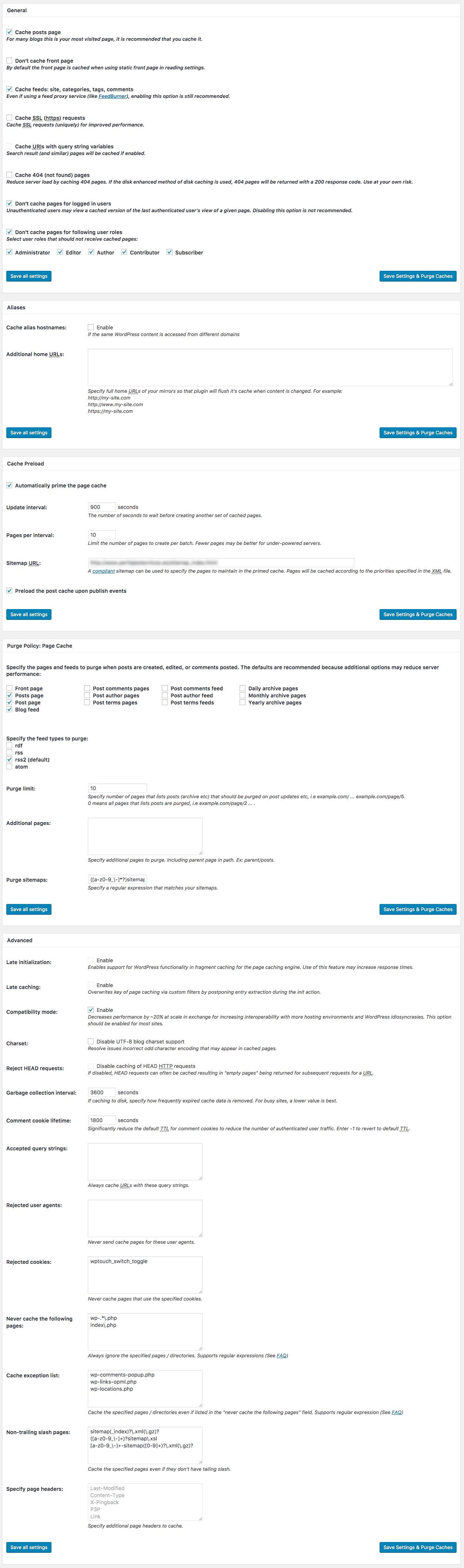 Configuración Page Cache del plugin W3 Total Cache